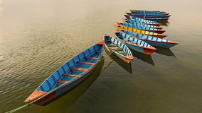 A bunch of colorful Nepal boats in feva lake Pokhara Nepal royalty free stock photos