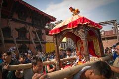 Nepal bosatta gudinna, Kumarien, Durbar fyrkant, Katmandu Arkivfoton