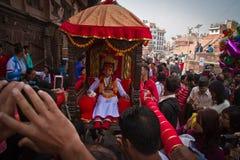 Nepal bosatta gudinna, Kumarien, Durbar fyrkant, Katmandu, Ne Royaltyfri Foto