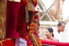 Nepal bosatta gudinna, Kumarien, Durbar fyrkant, Katmandu, Ne Fotografering för Bildbyråer