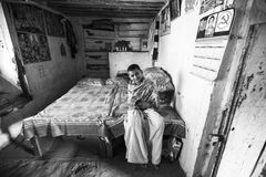 NEPAL -  child after lesson at Jagadguru School. Stock Photography