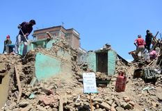 NEPAL-COLLAPSED-INFATRACTURES Royalty Free Stock Photo