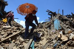 NEPAL-COLLAPSED-INFATRACTURES Stock Image