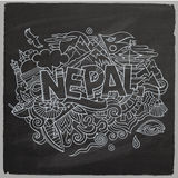 Nepal country hand lettering and doodles elements Stock Images