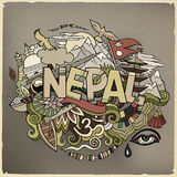 Nepal country hand lettering and doodles elements Royalty Free Stock Photography