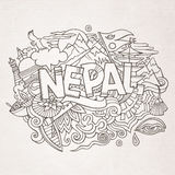 Nepal country hand lettering and doodles elements Royalty Free Stock Photo