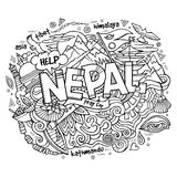 Nepal country hand lettering and doodles elements Stock Photos