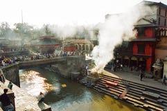 Nepal Cremation, Kathmandu. Cremation at Pashupatinath Temple, Kathmandu, Nepal stock photo
