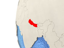 Nepal on 3D globe Stock Image