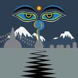 Nepal, das Erdbeben mit Buddha-Augen gegenüberstellt Stockfoto