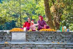 Nepal - 24 de dezembro de 2016:: Laranja nepalesa da venda da mulher no mo Fotos de Stock