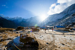 Nepal - 31 December 2016 :: beautiful view on top of Annapurna B Stock Images