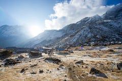 Nepal - 31 December 2016 :: beautiful view on top of Annapurna B Stock Photos