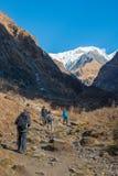 Nepal - 30 December 2016 :: Hiking to Himalaya mountain in Nepal Royalty Free Stock Photography