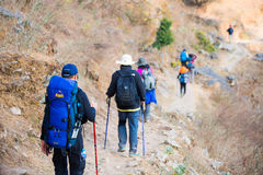 Nepal - 27 December 2016 :: Hiking to Himalaya mountain in Nepal Royalty Free Stock Photos