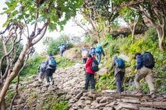 Nepal - 25 December 2016 :: Hiking to Himalaya mountain in Nepal Royalty Free Stock Images