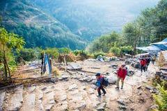 Nepal - 25 December 2016 :: Hiking to Himalaya mountain in Nepal Stock Photos