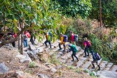 Nepal - 25 December 2016 :: Hiking to Himalaya mountain in Nepal Stock Images