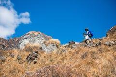 Nepal - 30 December 2016 :: Hiking to Himalaya mountain in Nepal Royalty Free Stock Photo