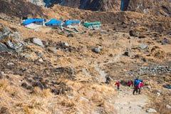 Nepal - 30 December 2016 :: Hiking to Himalaya mountain in Nepal Royalty Free Stock Photos