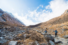 Nepal - 30 December 2016 :: Hiking to Himalaya mountain in Nepal Stock Photo