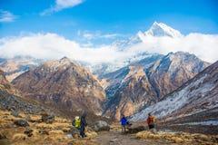 Nepal - 30 December 2016 :: Hiking to Himalaya mountain in Nepal Stock Images