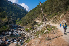 Nepal - 24 December 2016 :: Hiking to Himalaya mountain in Nepal Royalty Free Stock Images
