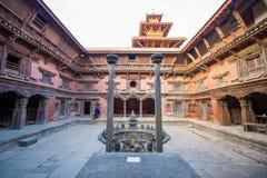 Nepal - 23 December 2016:: Patan Durbar fyrkant - världsarv royaltyfri fotografi