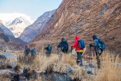 Nepal - 30 December 2016:: Wandeling aan de berg van Himalayagebergte in Nepal Stock Afbeeldingen