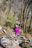 Nepal - 29 December 2016:: Wandeling aan de berg van Himalayagebergte in Nepal Stock Foto's