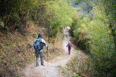 Nepal - 29 December 2016:: Wandeling aan de berg van Himalayagebergte in Nepal Stock Afbeelding