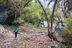 Nepal - 29 December 2016:: Wandeling aan de berg van Himalayagebergte in Nepal Royalty-vrije Stock Afbeeldingen
