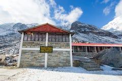 Nepal - 31. Dezember 2016:: Häuschen und Restaurant auf Annapurna-Ba Lizenzfreies Stockfoto