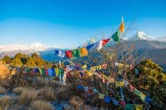 Nepal - 26. Dezember 2016:: Poon Hill-Standpunkt für sehen Schnee MO Lizenzfreie Stockbilder