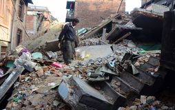 NEPAL-EARTHQUAKE-DISASTER obrazy royalty free