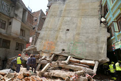 Nepal Earthquake 2015. MP075: Buildings collapsed during the April 25, 2015 earthquake in Gongabu area in Kathmandu, Nepal on May 1, 2015 Stock Photography
