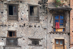 Nepal Earthquake 2015. MP035: Cracks developed on a residential building after the earthquake at Bhaktapur Durbar Square, near Kathmandu, Nepal on April 28, 2015 Stock Photos