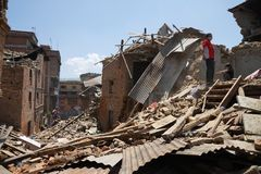 Nepal Earthquake 2015. MP081: Debris of a collapsed building caused due to the earthquake on April 25, 2015, at Sankhu near Kathmandu, Nepal on May 2, 2015 Stock Photography