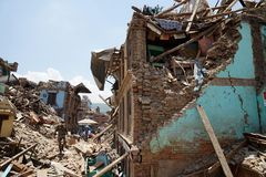 Nepal Earthquake 2015. MP084: Debris of a collapsed building caused due to the earthquake on April 25, 2015, at Sankhu near Kathmandu, Nepal on May 2, 2015 Stock Images