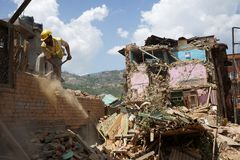 Nepal Earthquake 2015. MP085: Debris of a collapsed building caused due to the earthquake on April 25, 2015, at Sankhu near Kathmandu, Nepal on May 2, 2015 Royalty Free Stock Photos