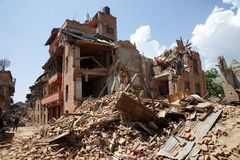 Nepal Earthquake 2015. MP086: Debris of a collapsed building caused due to the earthquake on April 25, 2015, at Sankhu near Kathmandu, Nepal on May 2, 2015 Royalty Free Stock Photos