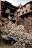 Nepal Earthquake 2015. MP015: Debris of a residential building completely destroyed by the earthquake at Bhaktapur Durbar Square, near Kathmandu, Nepal on April Stock Image