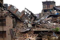 Nepal Earthquake 2015. MP036: Debris of a residential building completely destroyed by the earthquake at Bhaktapur Durbar Square, near Kathmandu, Nepal on April Royalty Free Stock Images
