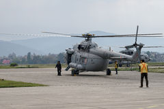 Nepal Earthquake 2015. MP045: A Indian Air Force M17 Helicopter prepares to take off with relief material to be distributed among the April 25, 2015 earthquake Stock Images