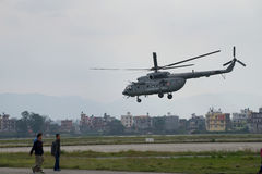 Nepal Earthquake 2015. MP047: A Indian Air Force M17 Helicopter take off with relief material to be distributed among the April 25, 2015 earthquake survivors at Stock Photo