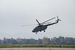 Nepal Earthquake 2015. MP048: A Indian Air Force M17 Helicopter take off with relief material to be distributed among the April 25, 2015 earthquake survivors at Royalty Free Stock Images
