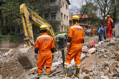 Nepal Earthquake 2015. MP069: Indian rescue team look out for trapped people and dead bodies at a collapsed building during the April 25, 2015 earthquake in Stock Images