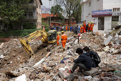 Nepal Earthquake 2015. MP067: Indian rescue team look out for trapped people and dead bodies at a collapsed building during the April 25, 2015 earthquake in Royalty Free Stock Photo