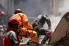 Nepal Earthquake 2015. MP059: Norwegian rescue team look out for trapped people and dead bodies at a collapsed building during the April 25, 2015 earthquake in Royalty Free Stock Image