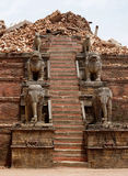 Nepal Earthquake 2015. MP027: The Nyatapola Temple in the historical Durbar Square completely destroyed by the earthquake at Bhaktapur Durbar Square, near Stock Photos